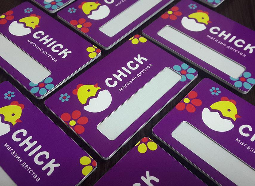Бейджи для сети детских магазинов Chick